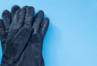Two black leather gloves