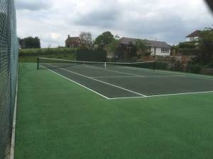 A tennis court in Wadhurst after tennis court restoration and tennis court cleaning