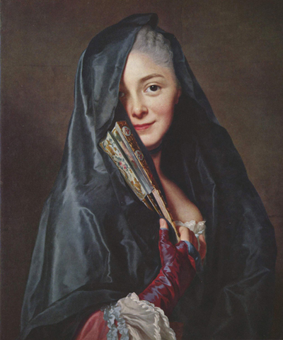 Painting by Alexander Roslin of elegant woman, presumably of status, with black shawl and fan gazing directly at viewer.