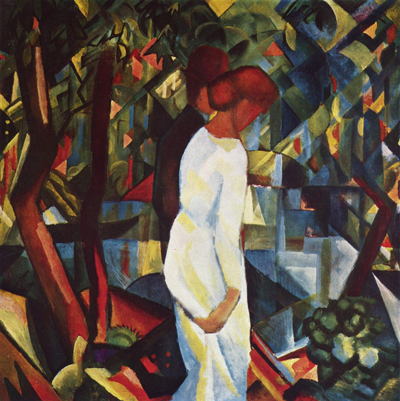Painting by August Macke of a man and woman, from the side. The woman is dressed in white and largely obscures the man. They appear to be walking to the right.