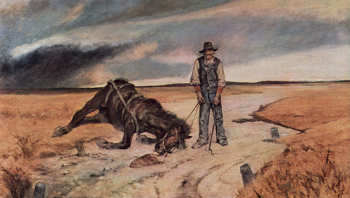 Painting by Giovanni Fattori that shows a man standing next to a horse which has collapsed on a road.
