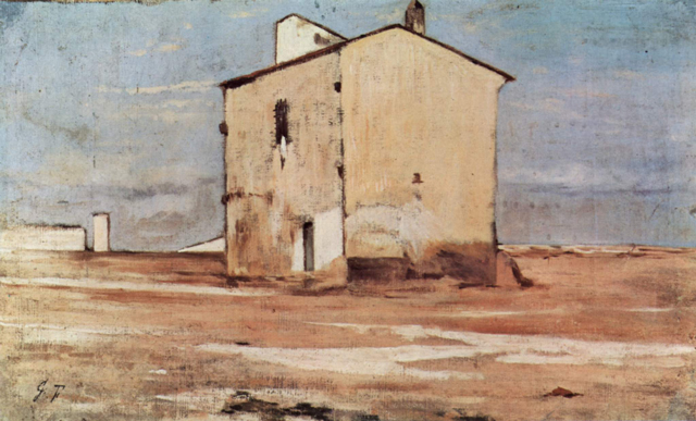 Painting by Giovanni Fattori of a cream-colored house on brown earth with blue sky.