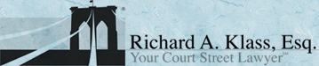 Artist rendering of a portion of the Brooklyn Bridge, the Logo for the Law Office of Richard A. Klass, Esq.