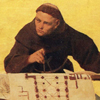 Thumbnail and detail from color sketch of the image Felicitas in the mosaic frieze at the Palais Pringsheim, Berlin by Anton von Werner. Shows a monk working at a desk with blue prints in front of him, looking to the left.