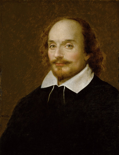 Portrait of William Shakespeare by William Page, 1873, illustrating article about notice of pendency by Richard Klass.