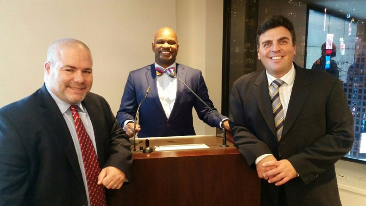 """David Sarnoff (""""Branding for Lawyers"""" presenter) with General Practice Section Chair John Owens and Past Chair Richard Klass. New York State Bar Association. In Rensselaer, NY"""
