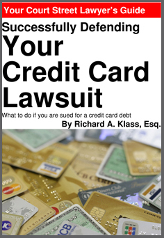 "Cover of book "" Successfully Defending Your Credit Card Lawsuit "" by Richard A. Klass, Esq. Image shows a pile of credit cards, mostly gold cards, from various banks and card companies."