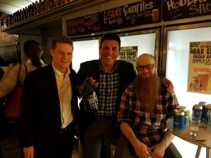 Richard A. Klass with attorney Daniel Gorman and Top Hops' brewmaster.