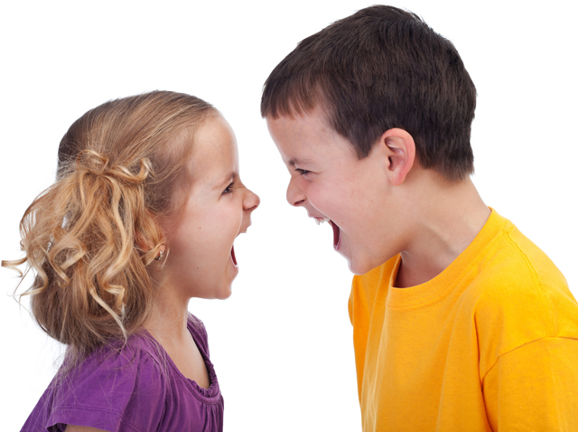 Two kids yelling at each other illustrating article by Richard Klass about a dispute between siblings over real estate profits and limited partnerships.