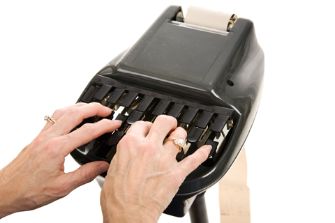 Stenotype machine illustrating article by Richard A. Klass, Esq. about Stenographic (court reporting) Services