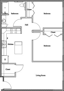 2 Bedroom Apartment (Version B): Approximately 885 sq ft