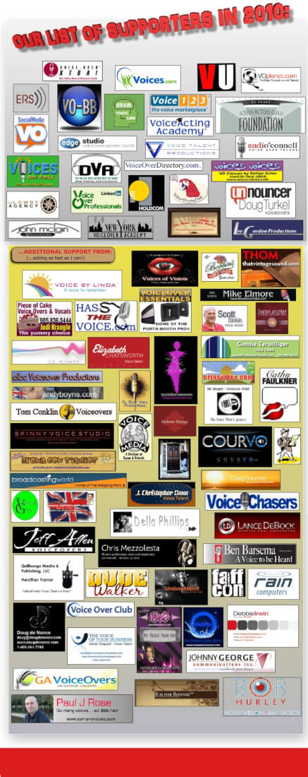2010 National Voice Over Month supporters