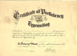 Harrietta's Certificate of Proficiency, Typewriting.