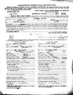 Seymour Berman and Vivian Klein Berman, Marriage License, 1946