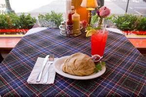 Large Steak n' Cheddar Pastie with Raspberry Lemonade