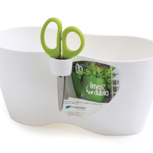 double herb planter with scissors white