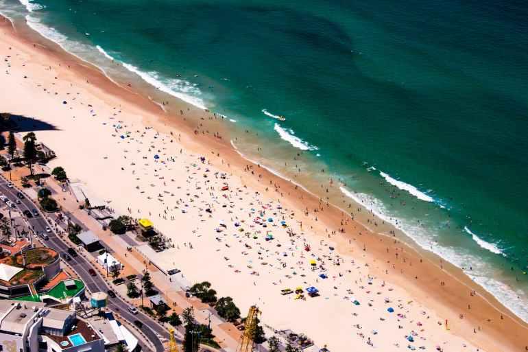 bird s eye view of beach during summer