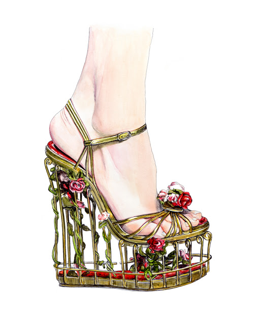 Dolce & Gabbana Cage Floral Heels Fall Winter 2013
