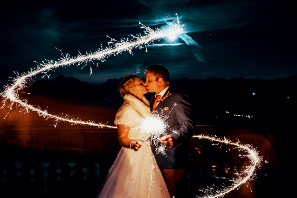 wedding sparklers, bride and groom, couple photoshoot, french alps wedding, mont chery wedding