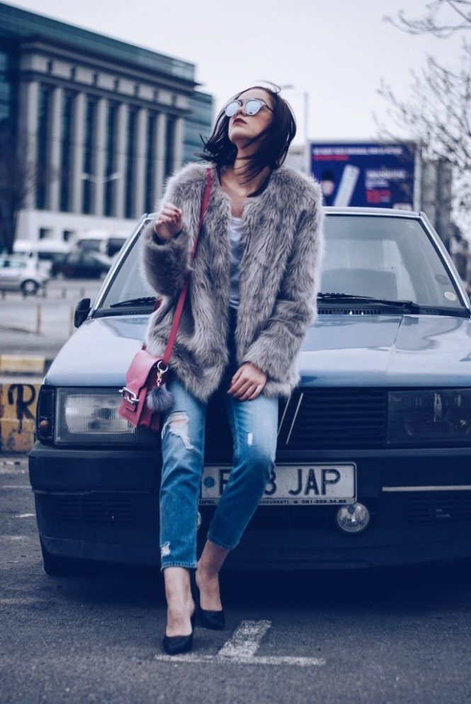 Faux fur, distressed boyfriend jeans, pumps, SoReal sunglasses by Andreea Birsan