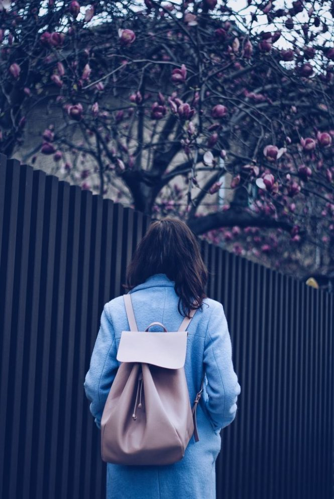 Baby blue outfit and pastel backpack by Andreea Birsan