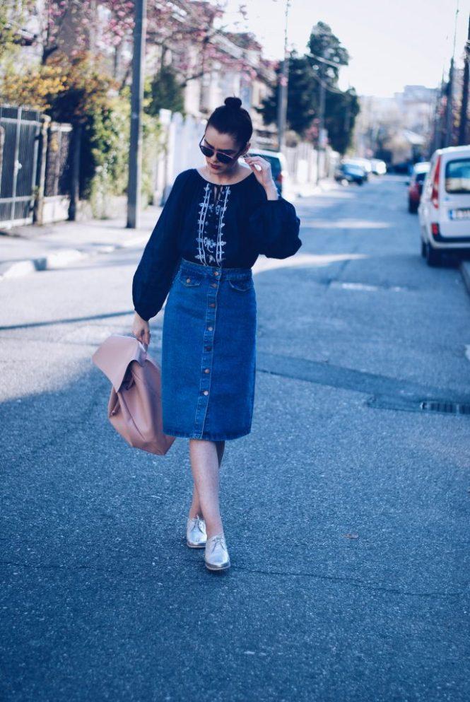 Midi denim skirt, embroidered shirt, silver shoes, backpack, soreal sunglasses by Andreea Birsan