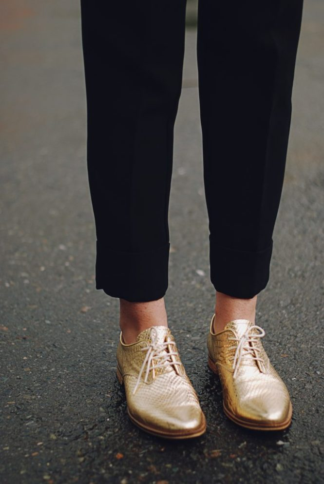 Embellished jacket, black trousers, golden metallic shoes, spring outfit by Andreea Birsan