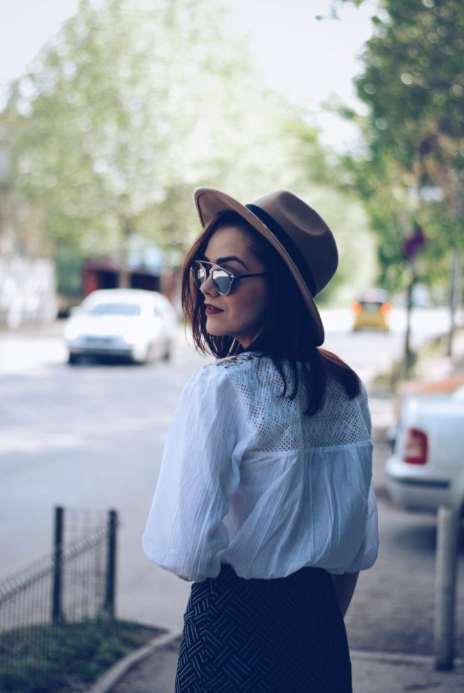 Camel hat, lace up blouse, so real sunglasses, printed pencil midi skirt by Andreea Birsan