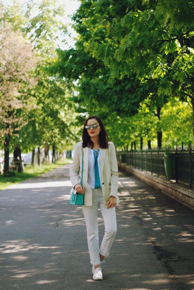 Cream blazer, so real sunglasses, off shoulder blouse, white straight trousers, white sneakers, color block crossbody bag, spring outfit by Andreea Birsan