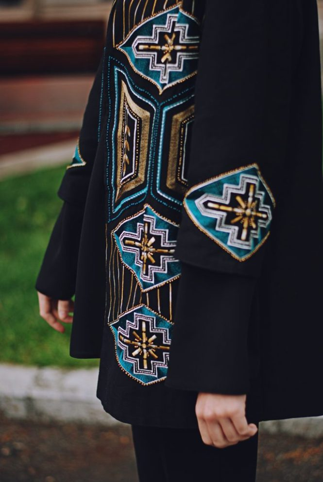 Embellished jacket, black bell sleeve blouse, spring outfit by Andreea Birsan