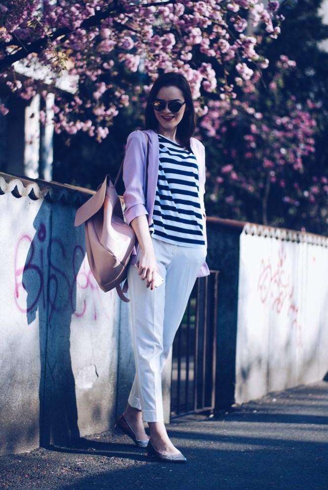 Glitter flats, white trousers, striped top, pastel blazer by Andreea Birsan