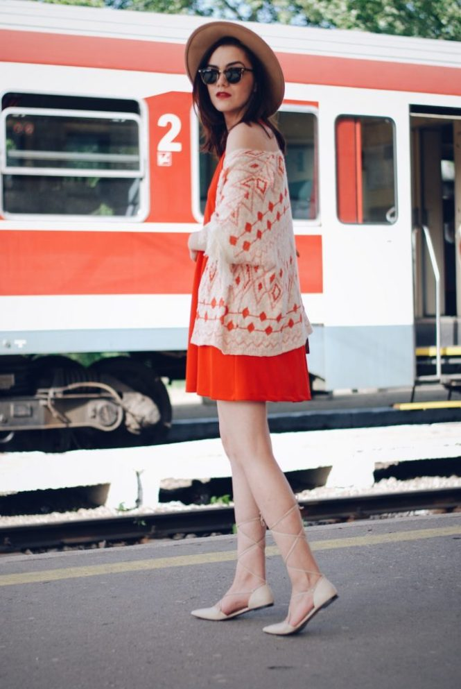 Orange dress, fringed jacket, lace up flats, hat, sunglasses, suede bag by Andreea Birsan