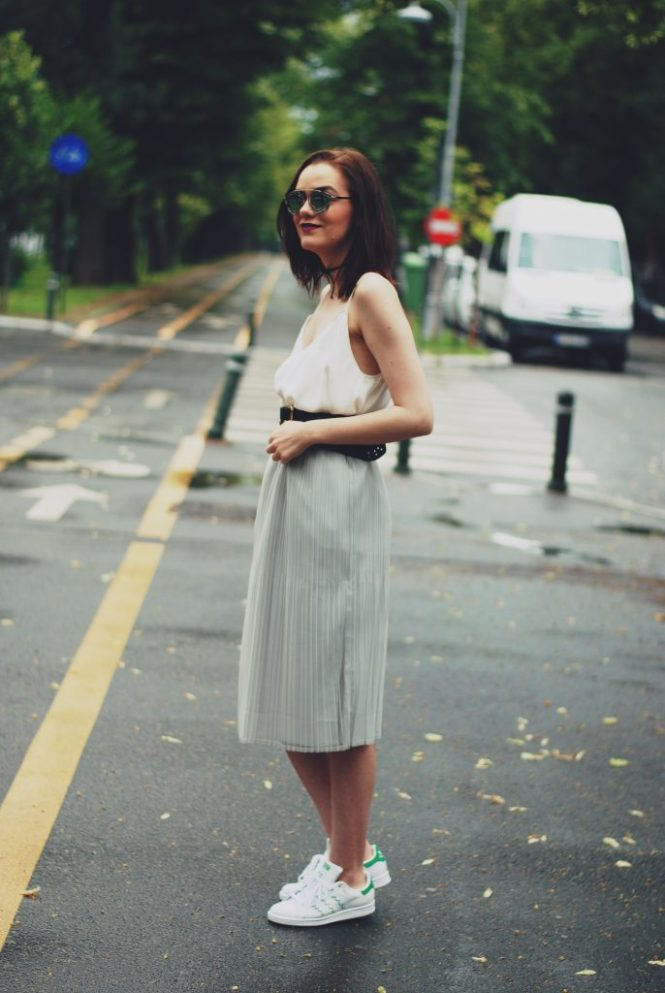 Grey pleated midi skirt, white camisole top, black belt, white sneakers, stan smith sneakers, color block crossbody bag, chocker, christian dior sunglasses, cute summer outfit by Andreea Birsan
