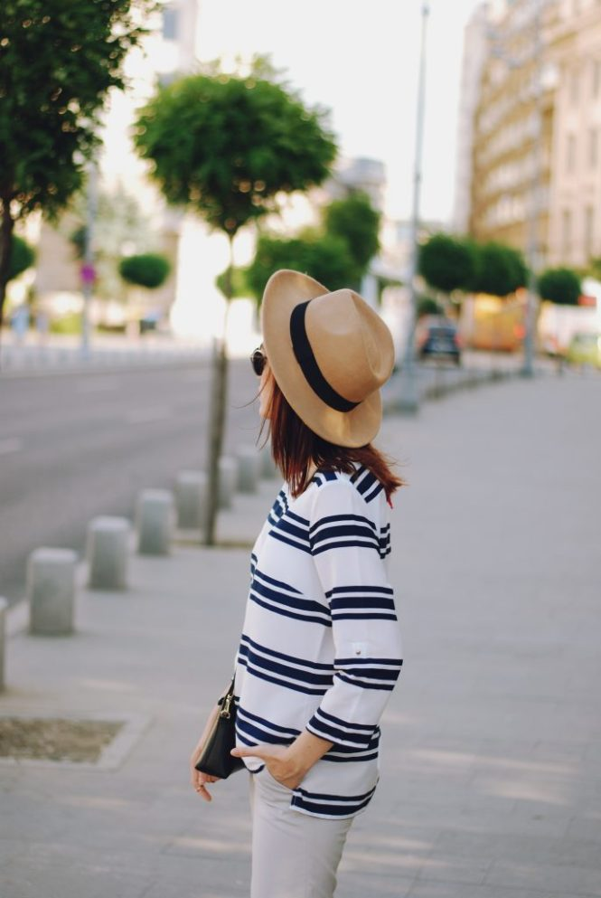 Striped blouse, grey trousers, camel fedora hat, furla crossbody bag, pom pom, christian dior sunglasses, beige lace up flats, summer basics, cute summer outfit, Andreea Birsan