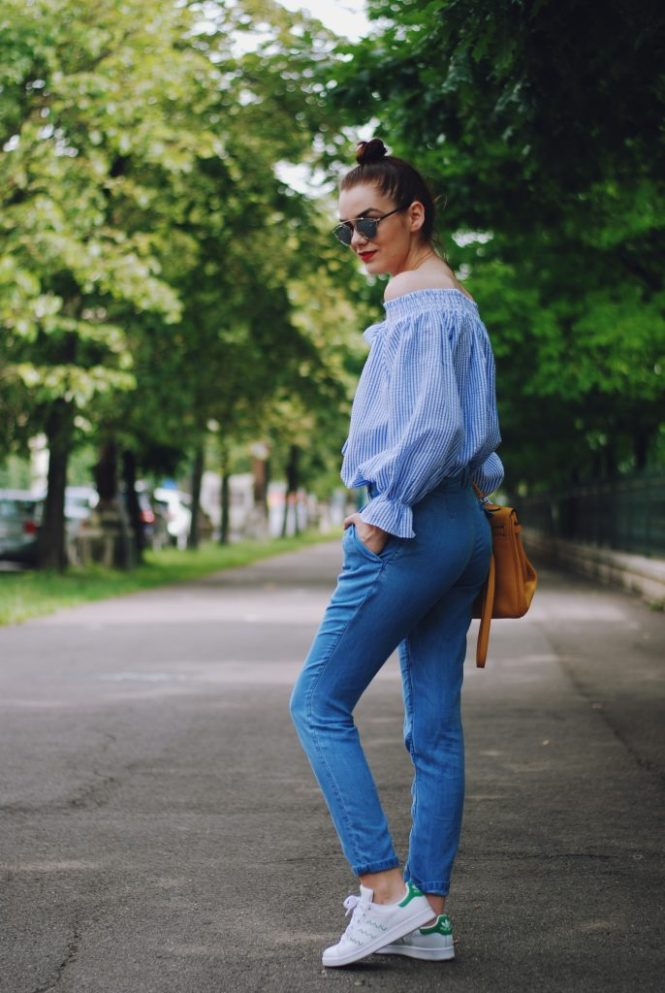 Striped off shoulder top, denim pants, christian dior sunglasses, adidas stan smith sneakers, white sneakers trend, yellow bag, cute summer outfit, Andreea Birsan