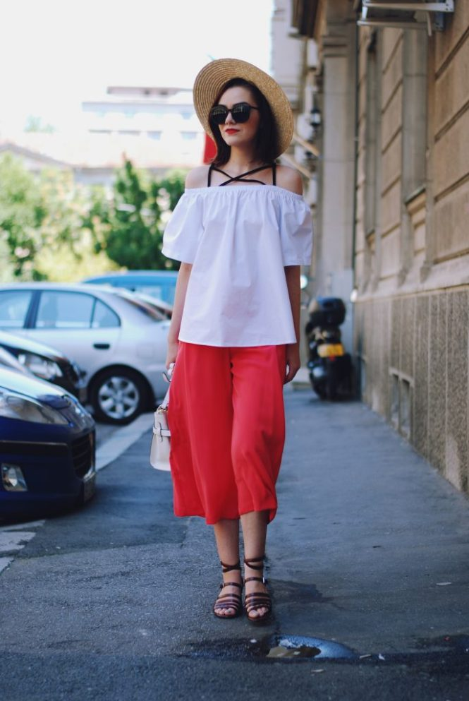 Straw hat, sunglasses, white off shoulder top, pink culottes, burdungy strappy sandals, white crossbody bag, cute summer outfit, Andreea Birsan
