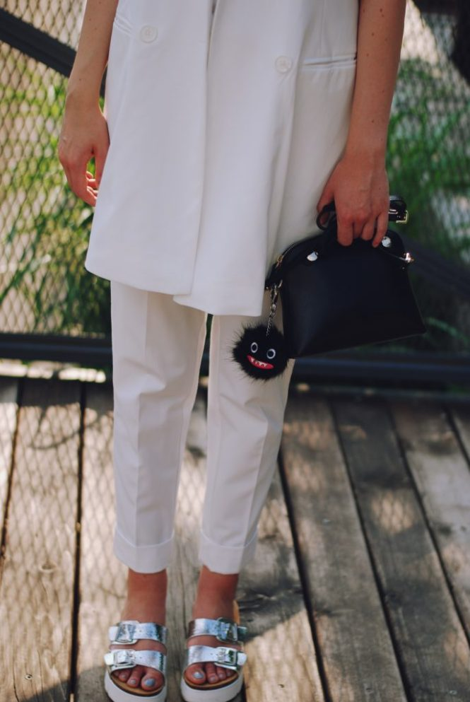 White summer outfit for the 4th of july, straw hat, red sunglasses, furla bag, white waistcoat vest, white tshirt, white trousers, silver metallic birkenstock sandals, Andreea Birsan