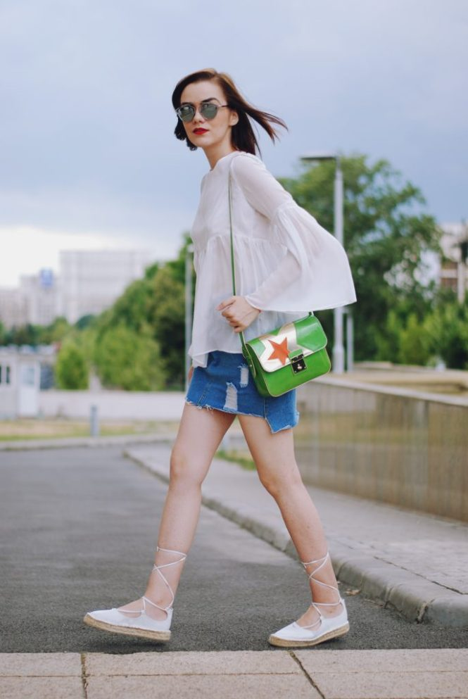 Christian Dior sunglasses, denim mini skirt, white bell sleeve top, green bag, white lace up espadrilles, cute summer outfit, Andreea Birsan