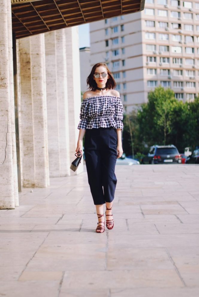 Navy culottes, gingham off shoulder top, chocker, furla crossbody bag, strappy sandals, mirrored sunglasses, cute summer outfit, Andreea Birsan