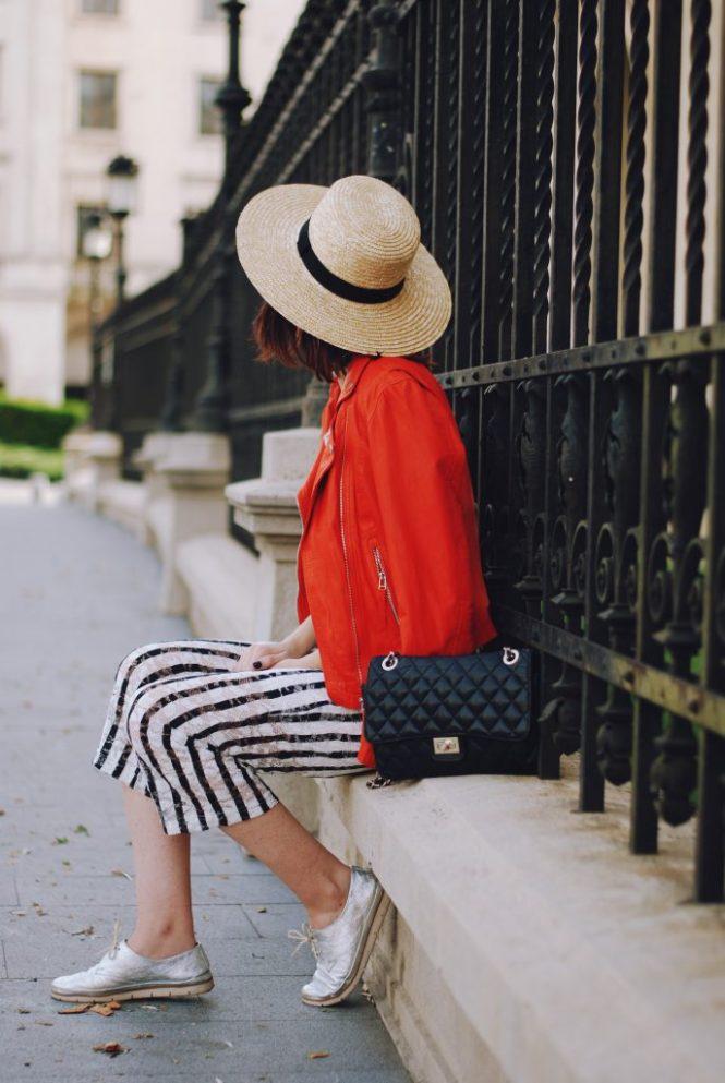 Striped jumpsuit, orange leather jacket, straw hat, chocker, crossbody bag, sunglasses, silver metallic shoes, belt, cute summer outfit, Andreea Birsan