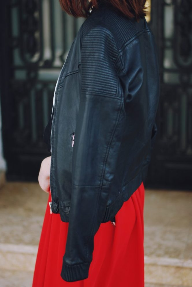 Sunglasses, striped off shoulder top, black leather jacket, red maxi skirt, strappy sandals, leather crossbody bag, chocker, cute summer outfit, Andreea Birsan