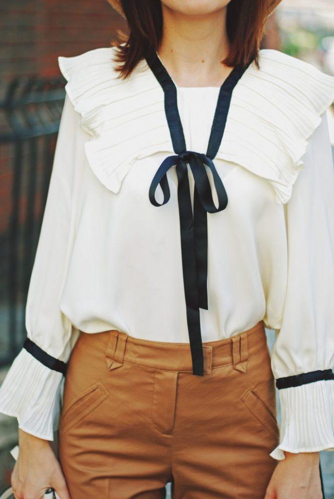 Camel fedora hat, camel flared pants trousers, ruffle top, scarf, white crossbody bag, beige pumps, dior sunglasses, cute autumn outfit idea, Andreea Birsan