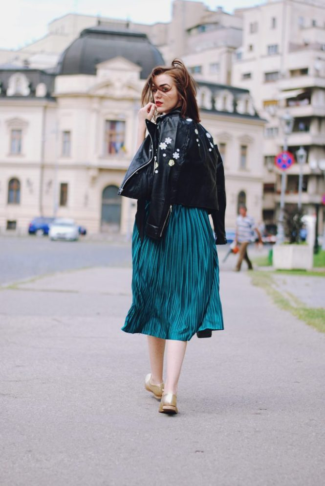 5b3aaeca92 Pleated emerald green midi skirt, black cami, skinny scarf, embroidered  leather jacket,