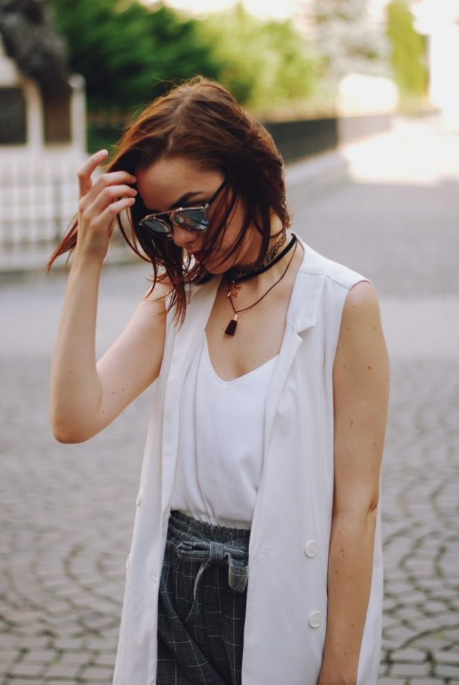 White waistcoat vest, grey culottes, white camis, dior sunglasses, black crossbody bag, choker, gold metallic mules, cute summer outfit, Andreea Birsan