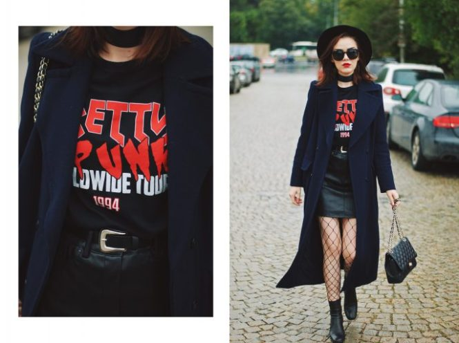 Black mini leather skirt, graphic tshirt top, fishnet tights, fedora hat, zara ankle boots, leather crossbody bag, long navy coat, choker, fall outfit idea, Andreea Birsan