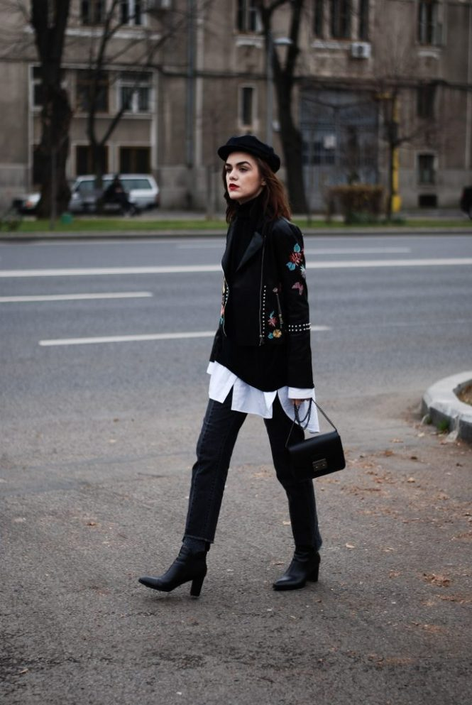 Floral embroidered leather jacket, black turtleneck sweater, oversized white button down shirt, vintage wash black mom jeans, step hemmed jeans, heeled leather pointed toe ankle boots, mini leather crossbody bag, furla metropolis lookalike bag, marina cap hat, nautical cap, fall layering, cute, casual, chic fall outfit ideas 2016, glitter socks, all black look outfit, andreea birsan, couturezilla, fall trends, fashion blogger, fashion inspiration