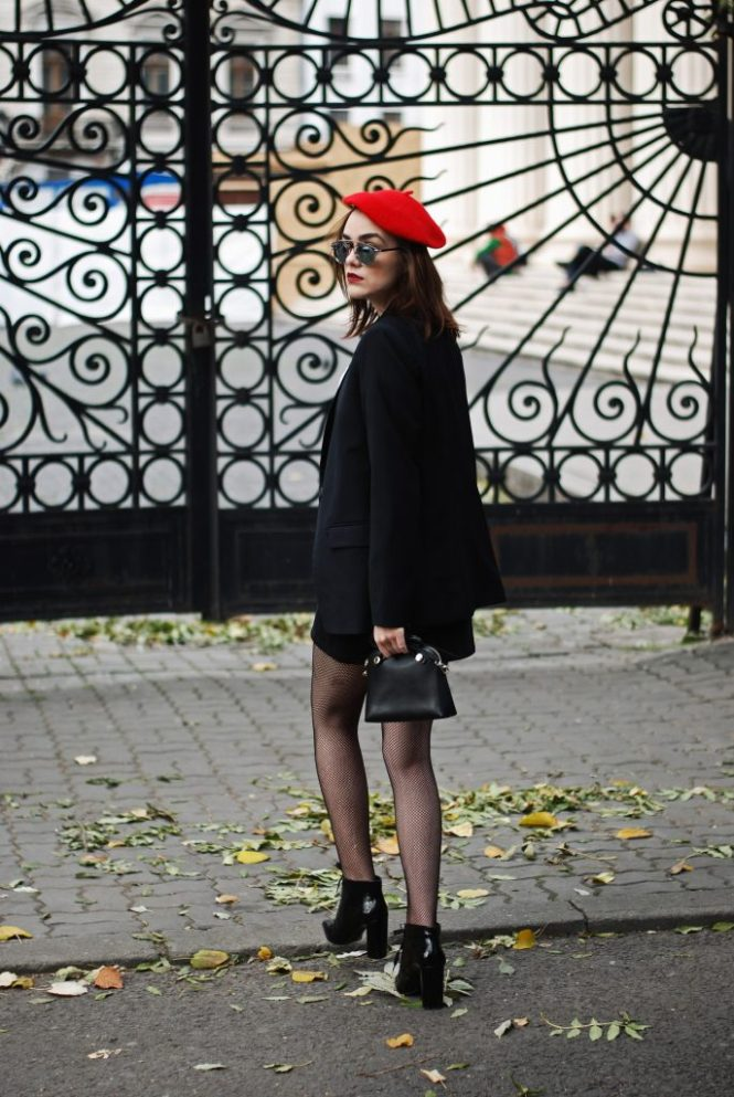 pointy toe ankle boots zara, black button front mini denim skirt, pussy bow blouse, blazer mango, fishnet tights, furla crossbody bag, red beret, cute and casual fall outfit ideas 2016, couturezilla, andreea birsan, christian dior so real mirrored sunglasses