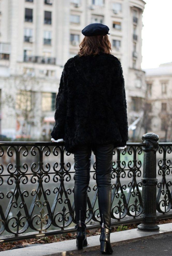 Faux fur coat, faux fur jacket, contrast bell sleeve top, graphic tee, newsboy cap, marina cap, zara leather pants, pu pants, moto pants, pointed toe leather ankle boots, how to look parisian, skinny scarf, black furla metropolis mini crossbody bag, andreea birsan, couturezilla, cute winter outfit ideas 2016, casual outfit ideas, fall outfit, all black outfit