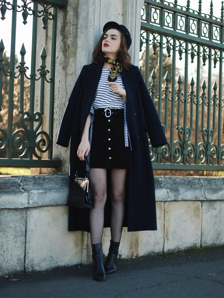Zara navy long coat, vintage bag, french knotted scarf, how to look parisian chic, striped top, gingham top, real suede button front mini skirt, fishnet tights, cap, romanian fashion blogger, how to wear fishnet tights, leather ankle boots, andreea birsan, couturezilla, casual, cute winter outfit , fall outfit, outfit combo, ootd 2016, how to dress during cold winter