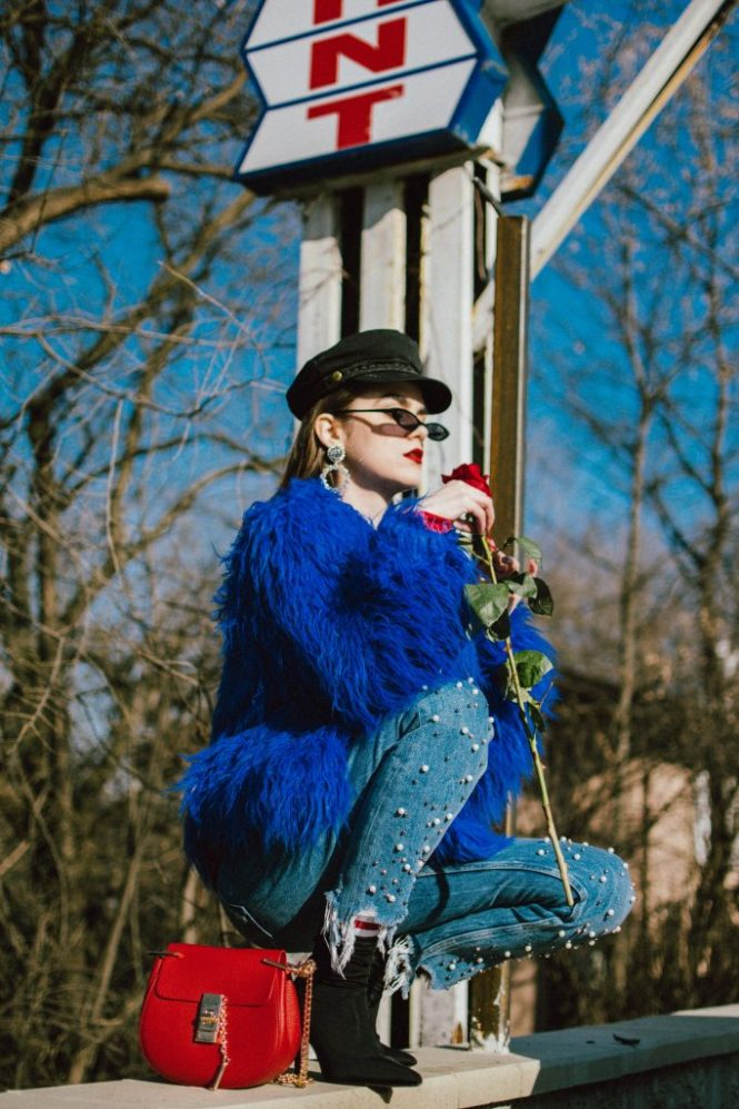 Boohoo blue mongolian fur jacket, cobalt faux fur jacket, fur coat, popular zara pearl jeans, step hem zara jeans with pearls, how to wear mom jeans like a pro. red sweatshirt, asos small cat eye sunglasses, black heeled sock boots, red chloe drew bag, baker boy hat, andreea birsan, couturezilla, cute winter outfit ideas 2018, where to find the best mom jeans, best jeans with pearls, pearl embellished denim, distressed denim, jeans, red and blue outfit, how to mix red and blue, balenciaga lookalike sock boots, knife boots, the best sock boots under 50$, red sweatshirt with print, how to mix athleisure clothes in a cool look, statement earrings, rhinestones, fun 90s socks, how to wear the retro sunglasses like a fashion blogger, 90s sunglasses, micro sunglasses trend, red chloe drew dupe, red chloe drew shoulder bag lookalike, pearl embellishements, the best way to wear red and blue this winter, roses, how to look Parisian chic, European summer street style inspiration for women 2017, pinterest chic outfit ideas for woman, summer outfit ideas, summer ootd inspiration, outfit of the day, ootd, fashion icon, style inspiration, fashionista, fashion inspiration, style inspo, what to wear in summer, how to look French, chic on a budget, zara outfit, mango, topshop, asos, river island, forever 21, urban outfitters, how to mix high end pieces with luxury ones, zara and Gucci,outfit alternatives for summer, tomboy chic, minimal outfit, tumblr girls photos, pictures, happy girl, women, smart casual outfits, the best outfit ideas 2017, what to wear when you don't feel inspired, summer in Europe, weekend attire, uniform, French women in summer, European outfit ideas 2017, minimal chic outfit, how to stand out, the best outfit ideas for summer, the sunglasses you have seen everywhere on Instagram, glasses, uk fashion blogger, united kingdom, uk fashion blog, fashion and travel blog, Europe, women with style, street style, summer fashion trends 2017, best fashion ideas, styling, 